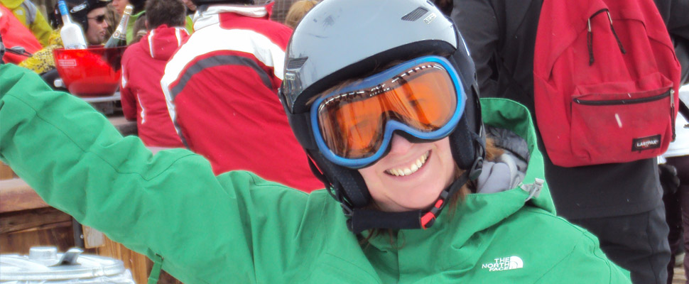 Happy skier who has paid less